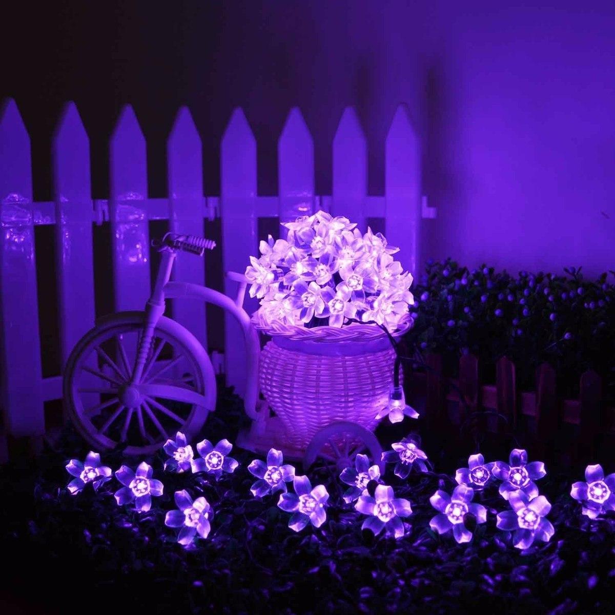 luces flores solares ft led morado para decoracion cargando zoom