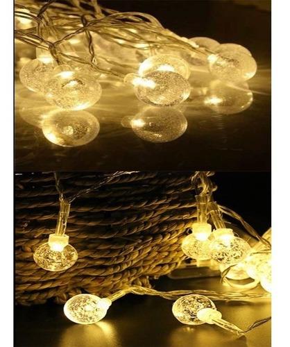luces guirnalda led bolitas cristal calida led 4 mtrs a 220v