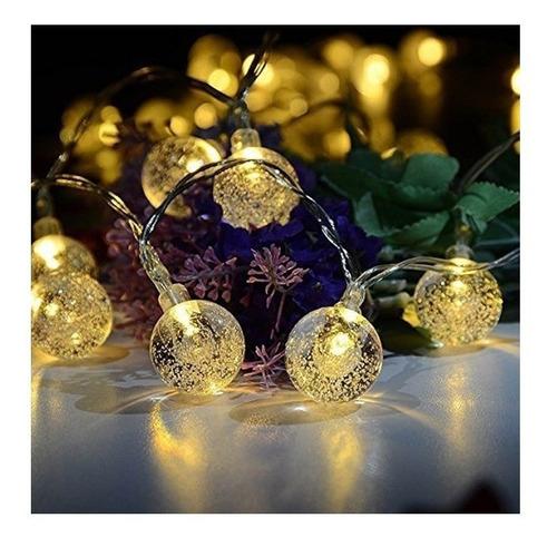 luces guirnalda led bolitas cristal led 5 mts enchufe a 220v