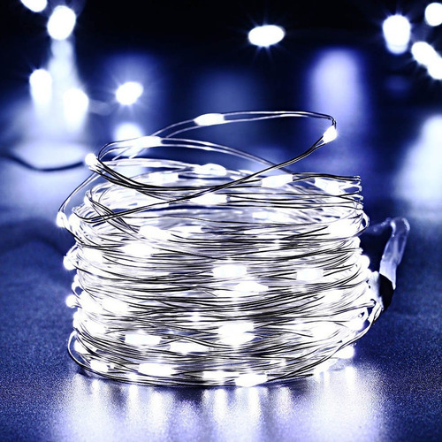 luces guirnalda microled alambre tira 100 led 10 mts solar