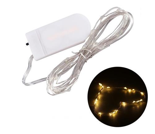 luces guirnalda microled calidas alambre tira 20 led a pila