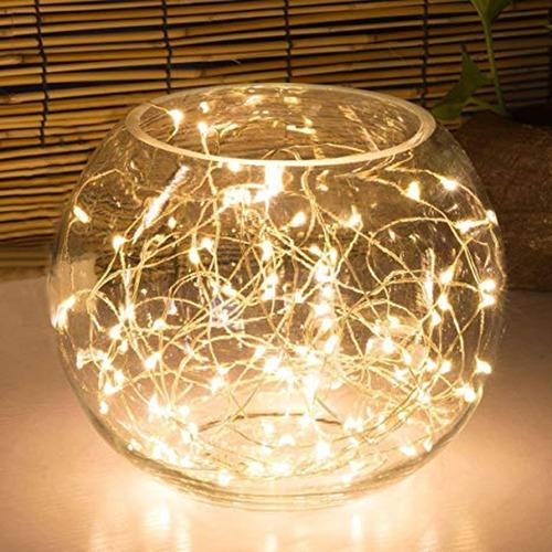 luces guirnalda microled calidas alambre tira 30 led a pila
