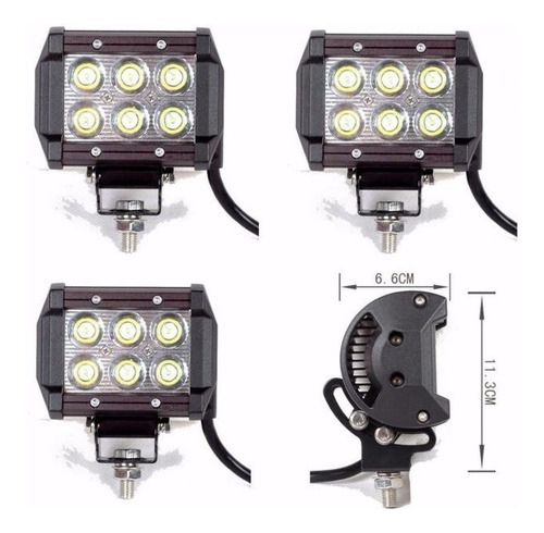 luces led 6 led cree 18w cuadros 4x4