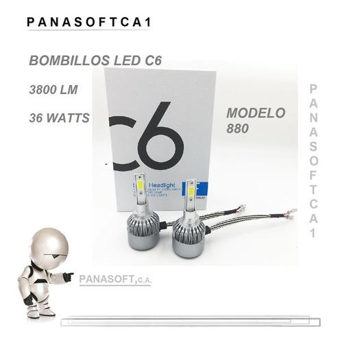 luces led c6 bombillo carros 72w/7600lm h1 h3 880 6000k