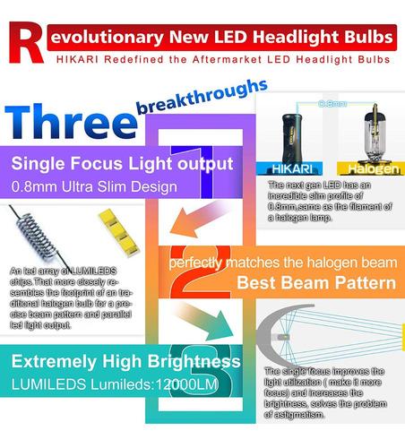 luces led carros luz 46w 12000lm  h1