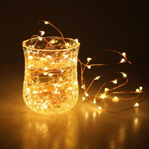 luces led de hada sumergible a pilas 50 led 5 mts eventos