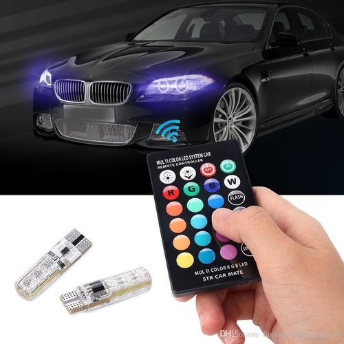luces led multicolor auto carro + control remoto (8)