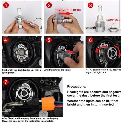 luces led para carros72w 8000lm,h1,h3,h7,h4,9005,9006 el par