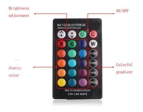 luces led t10 vehiculos multicolor 4 modos a control remoto