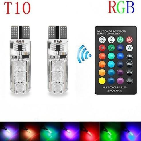 luces led t10 vehiculos multicolor 4 modos a control remoto