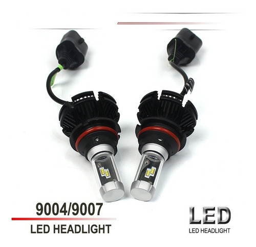 luces led x3 faros carro moto h4 9007 h13 chip zes 50w