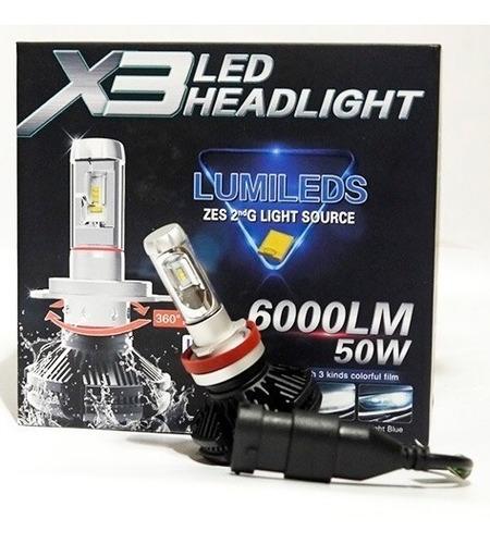 luces led x3 h1, h3, h7, h11 de 50w 6000 lumens carro, moto