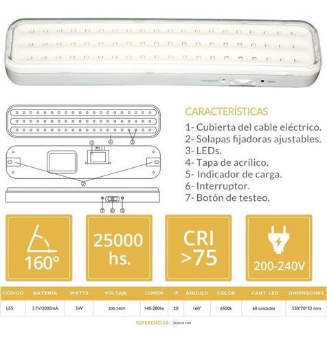 luces luz de emergencia 60 leds recargable con cable 220v