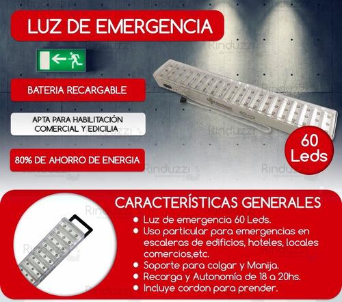 luces luz de emergencia 60 leds sonex 15hrs de autonomia