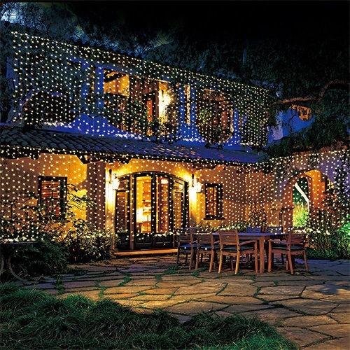 Cortina luces led 3x3 fiesta navidad eventos jardin patio for Luces jardin