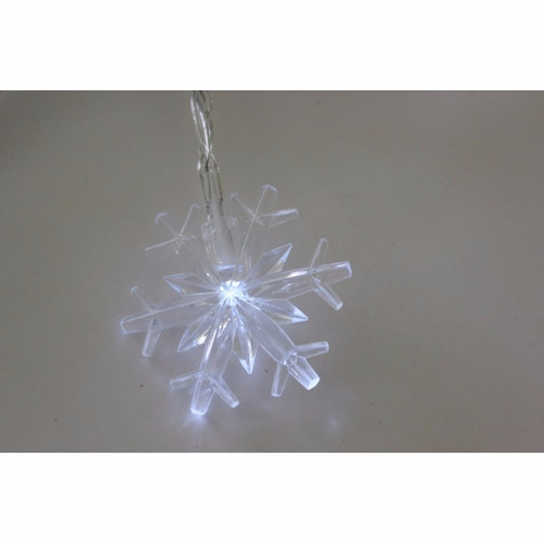 luces navideñas copos de nieve 20 leds panel solar navidad