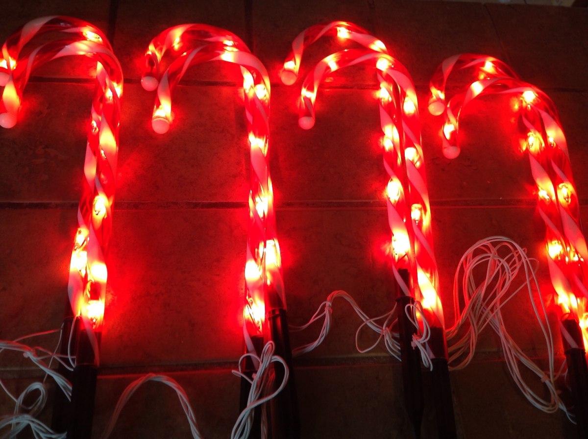 Luces navide as en forma de bast n para exterior son 8 for Luces de navidad solares para exterior