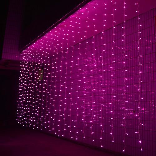 luces navideñas tipo cortina/cascada.300 leds 3x3m. rosa