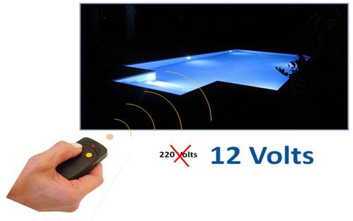 luces para piscinas. led rgb artef. acero inox. colocación
