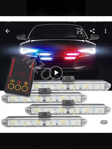 luces policía estroboscópicas 4 piezas 6 leds cada una