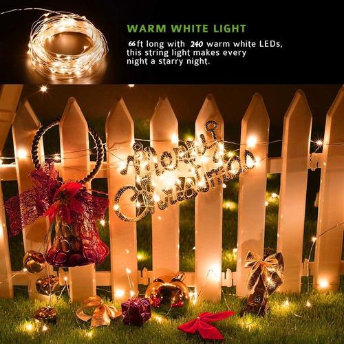 luces solares exterior para decoración navideña 24 metros