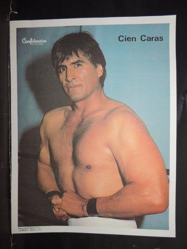 luchador cien caras cromo a color de la prensa.90's