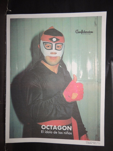 luchador octagon cromo a color de la prensa.90's