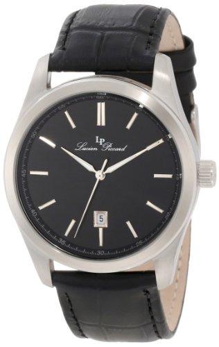 lucien piccard hombre lp-11568-01 eiger reloj de cuero negro
