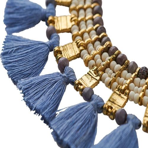 luckyly collares modernos eliane, chaquira, hilo de la india