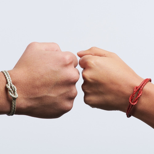luckyly pulseras para pareja ellie, set de 2 lazos piel nudo