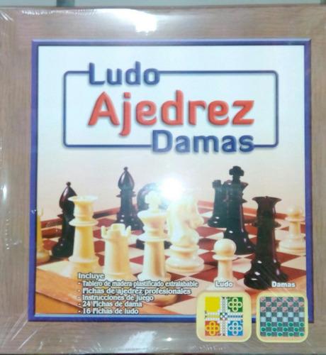 ludo ajedrez dama 3 en 1 madera