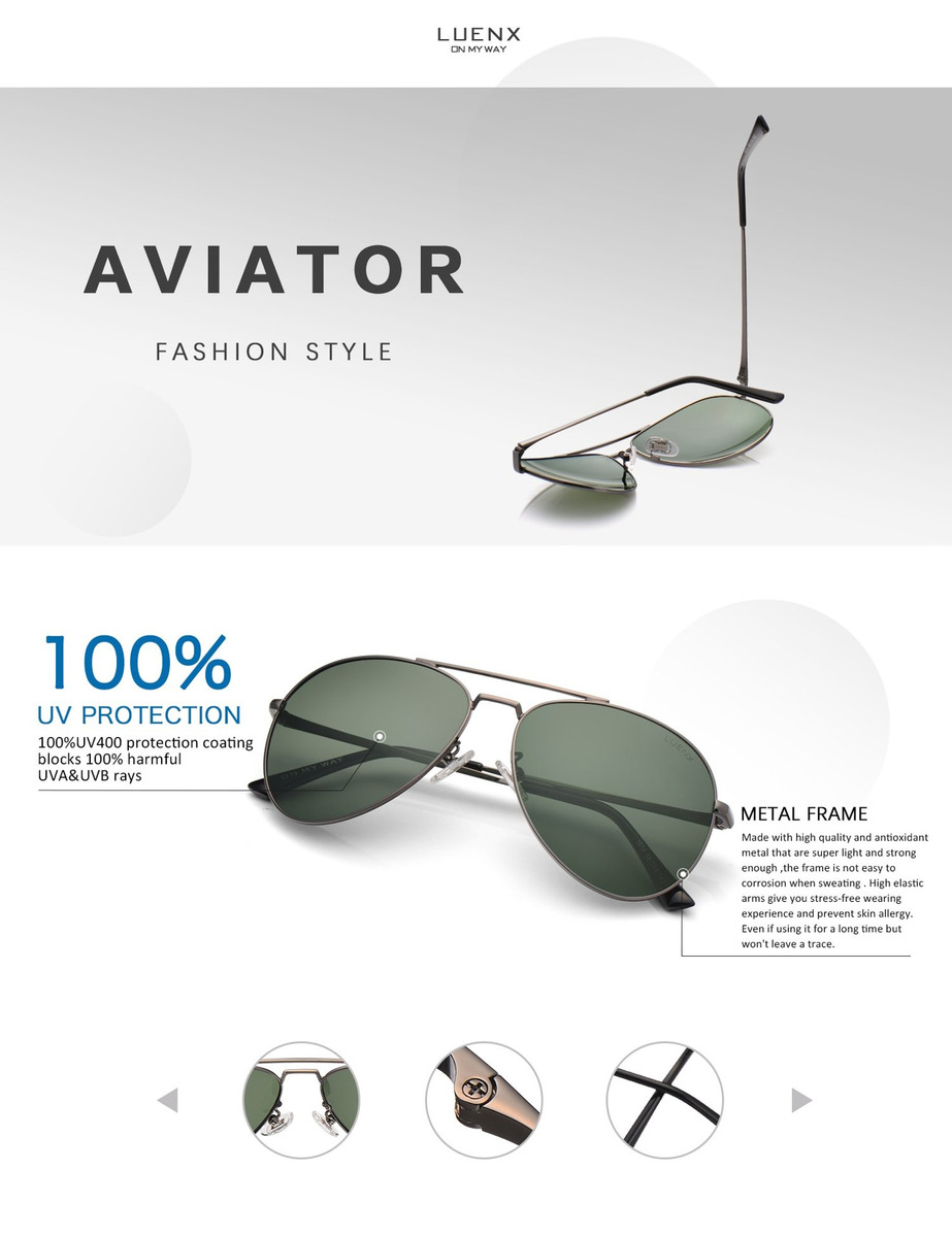 3a62371a97 luenx men aviator sunglasses polarized for driving with c. Cargando zoom.