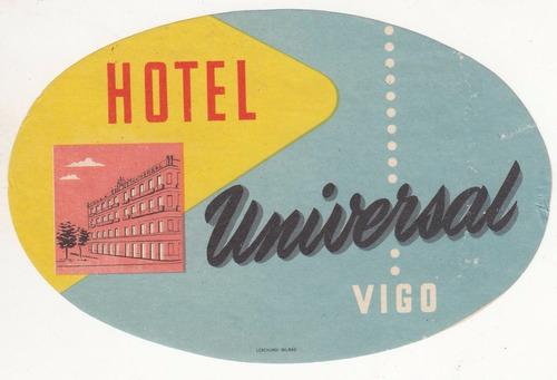 luggage antiguo sticker de hotel universal de vigo españa