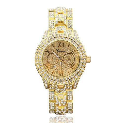 lujo reloj diamantes geneva dorado oro rosa piedras diamond