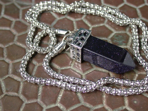 luli cadena piedra aventurina azul colgante pendulo unisex