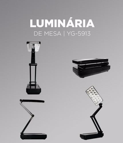 luminária 21 leds recarregável articulada