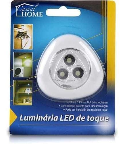 luminaria 3 led super potente de toque com adesivo colante