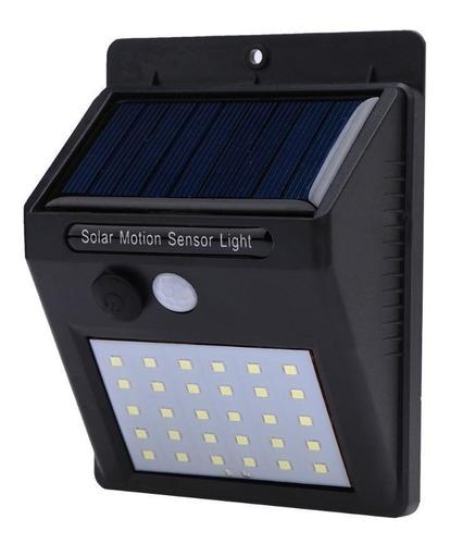 luminária 30 leds com sensor de presença arandela solar