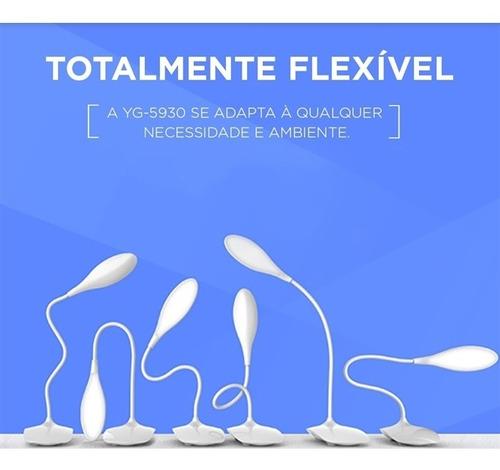 luminaria abajur 21 leds flexivel estudos e bancada recarreg