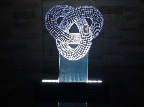 luminária abajur acrílico de led 3d