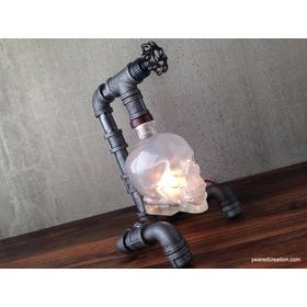 Luminária Abajur Caveira Estilo Industrial Vintage-retrô
