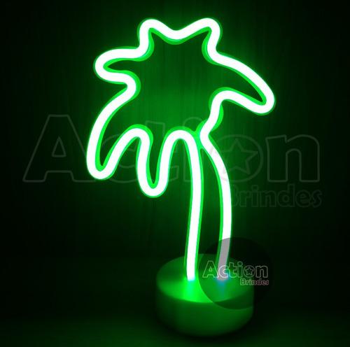 luminária abajur coqueiro neon decoração