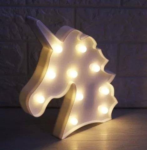 luminária abajur cores unicórnio c/luz led mesa /parede 1und