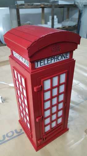 luminária abajur réplica da cabine telefônica inglesa