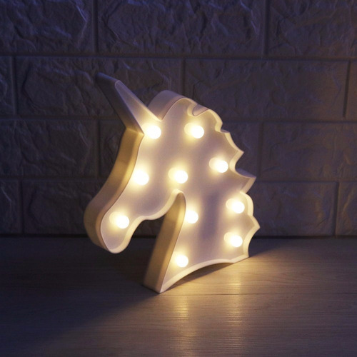 luminária abajur unicórnio c/ luz led mesa e parede 3 cores