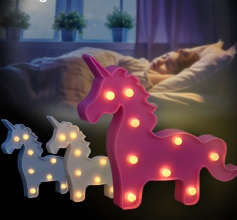 luminária abajur unicórnio de led decoração mesa parede luz