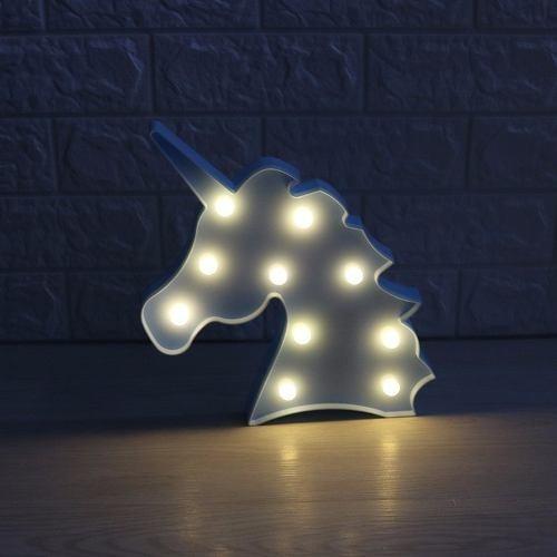 luminária abajur unicórnio luz led mesa e parede promoção