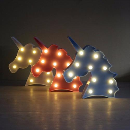 luminária abajur unicórnio luz led parede mesa branco azul