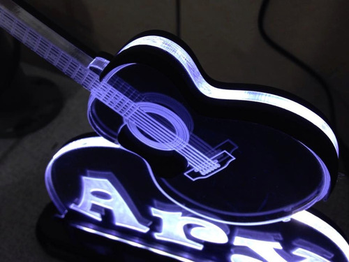 luminária acrílico 10mm c/ led -20x20- personalizado violão