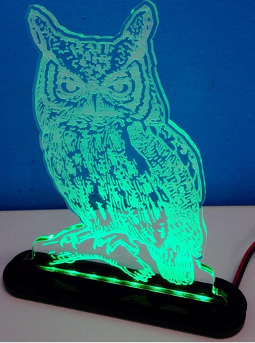 luminária acrílico 6mm c/ led - coruja